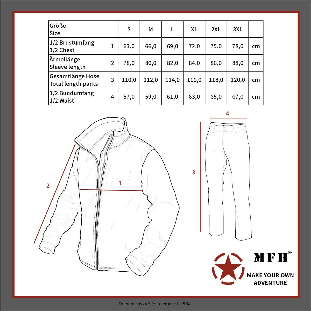 Замеры костюмов MFH